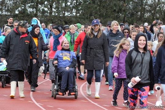 In wheelchair: Nathan McNabb, Napier, who has MND - Walk 2 D'feet MND - motor neurone disease fundraiser at Hawke's Bay Regional Sports Park, Hastings. photograph