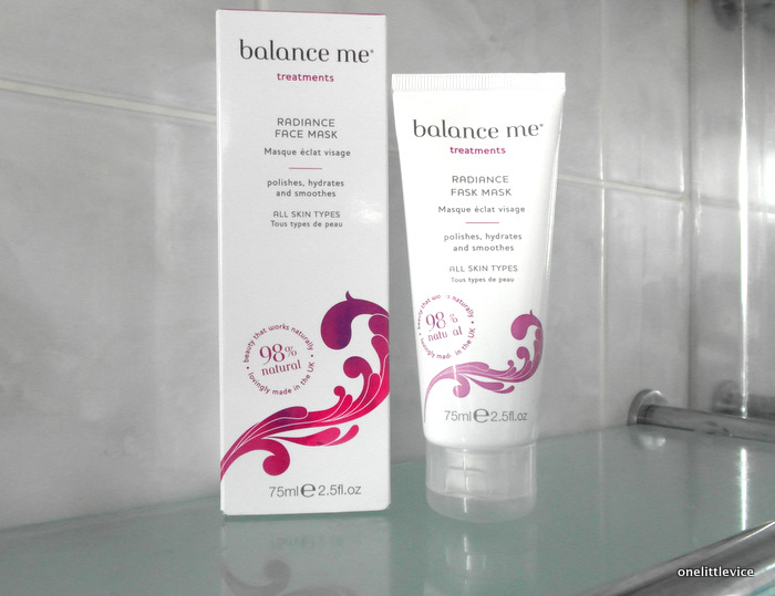 One Little Vice Beauty Blog: Balance Me Natural Face Mask for clogged dull skin