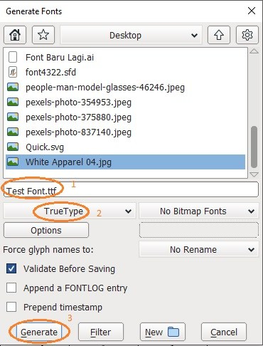 FontForge Software - Export Font to TTF, OTF or WOFF