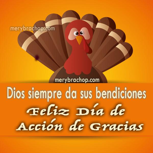 tarjeta con feliz dia de accion de gracias imagen de pavo y mensaje cristiano de bendiciones