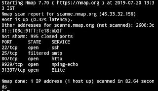Nmap scan results