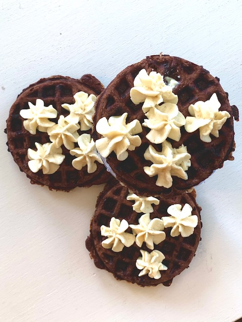 Chocolate Chaffles with Cream Cheese Topping