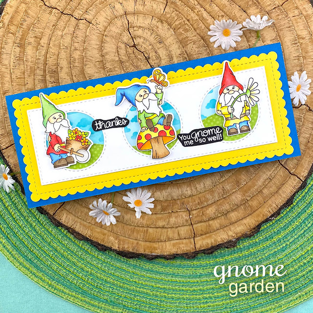 Slimline Gnome card by Jennifer Jackson | Gnome Garden Stamp Set by Newton's Nook Designs #newtonsnook