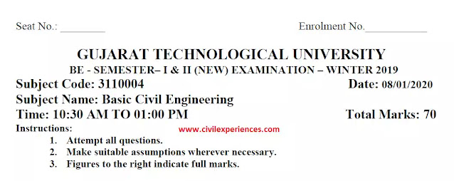 Download GTU Question Papers of Basic Civil Engineering