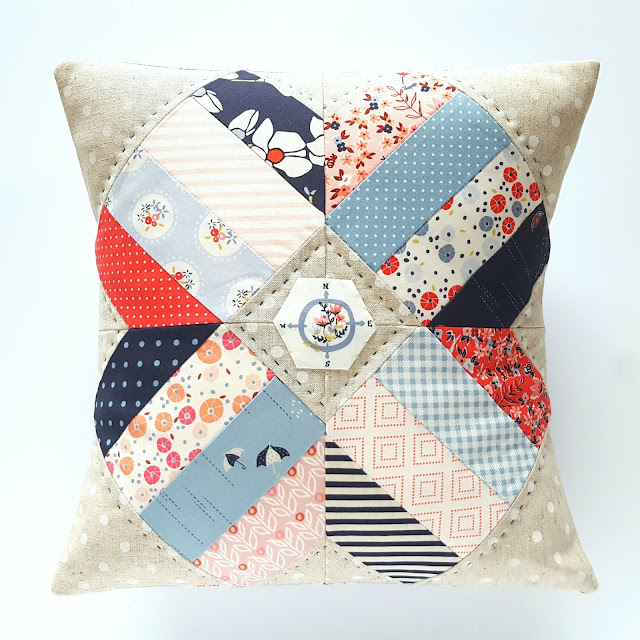 Fat Quarter Style Blossom Pillow with Charleston and Les Petits fabrics by Heidi Staples for Fabric Mutt