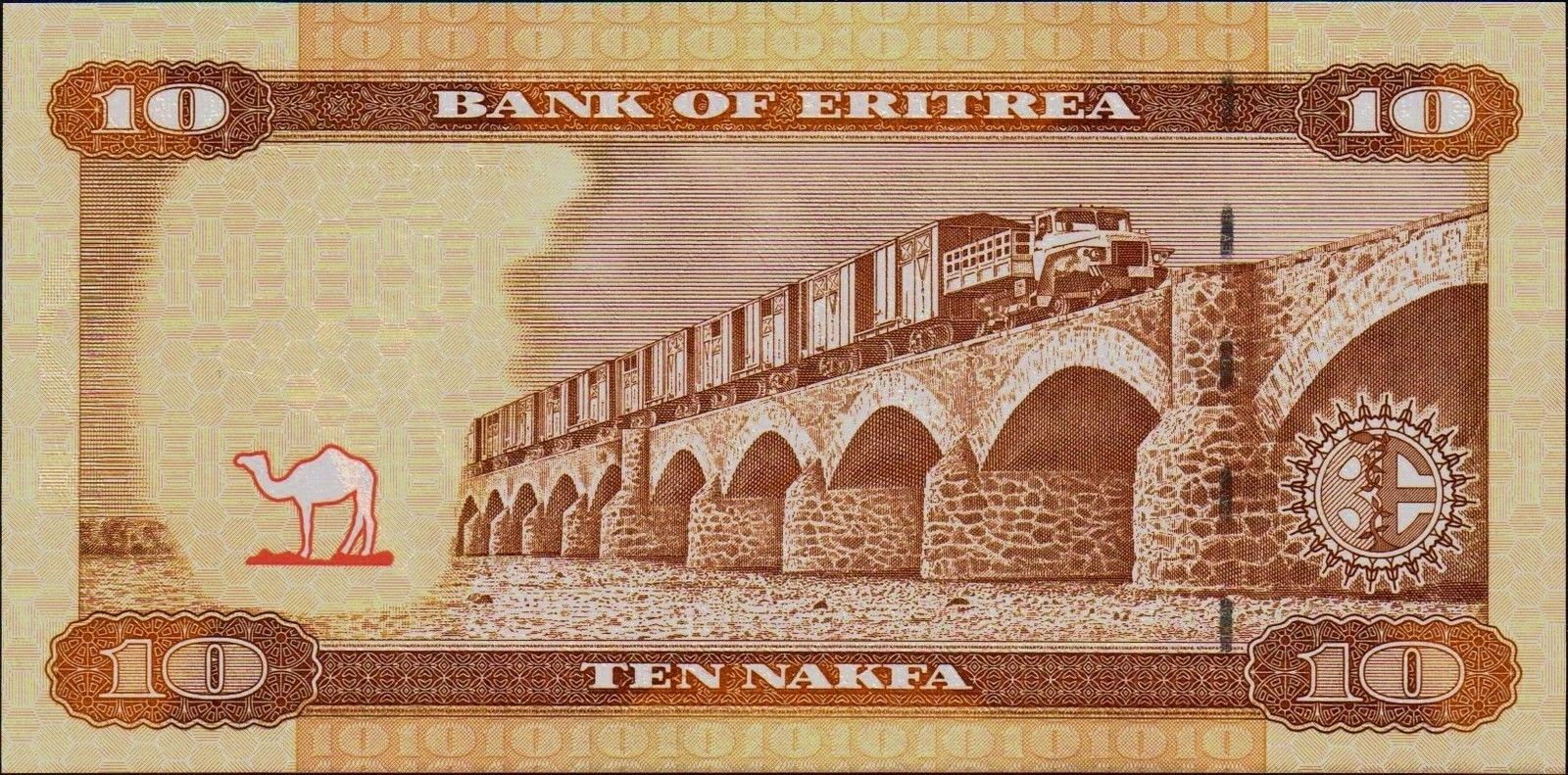 Currency of Eritrea 10 Nakfa Note