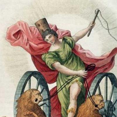 Cibele guida il carro trainato da due leoni. Incisione di Tintoretto (1518-1594)