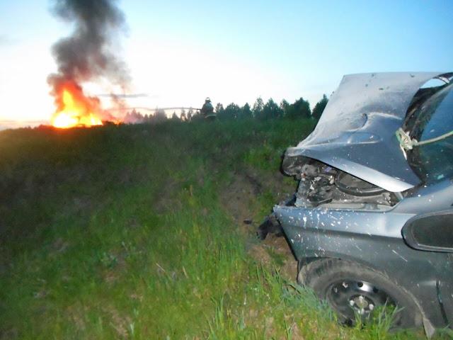 ДТП в Башкирии: столкнулись «Chevrolet Lanos» и «Lada Vesta», в авто чуть не сгорели дети