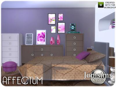 Affectum Bedroom Аффектум Спальня для The Sims 4 современная и удобная с 19 новыми предметами. двуспальная кровать со встроенным торцом. настольная лампа. коврики. настенные росписи. настольные картины. настольные картины поменьше. ваза деко. ваза deco2. ваза deco3. ваза деко 4. ваза металлическая и цветная. 1 комод большой. 1 комод высокий. Аудио светодиодный. слоеное. пух меньше Миско деко белая стена модерн. кровать. одеяло и постельный костюм ... расслабьте своих симов в этой новой атмосфере. Автор: jomsims