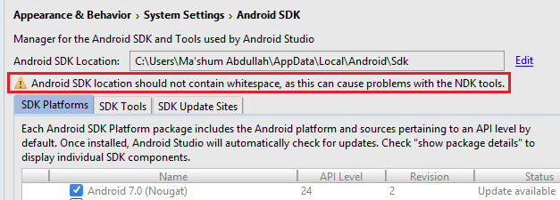 Android SDK location should not contain whitespace, as this can cause problem with NDK tools