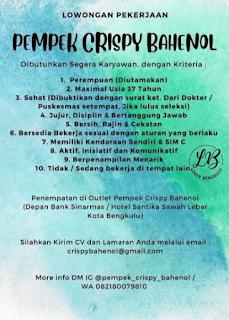 Lowongan Kerja Bengkulu September 2021