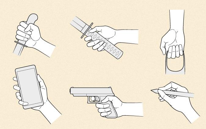 Tangan anime memegang benda yang berbeda