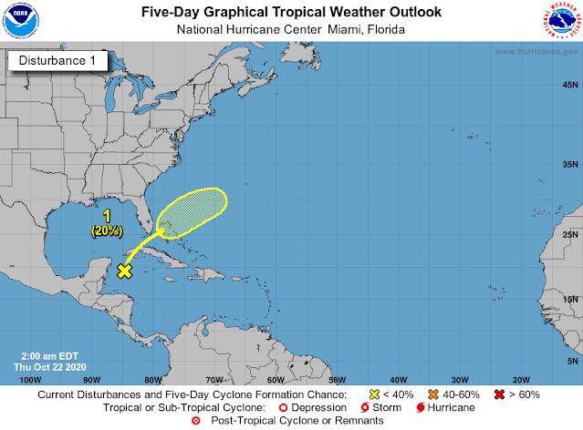 La vaguada de baja presión rumbo a Cuba con lluvias fuertes rumbo a Florida