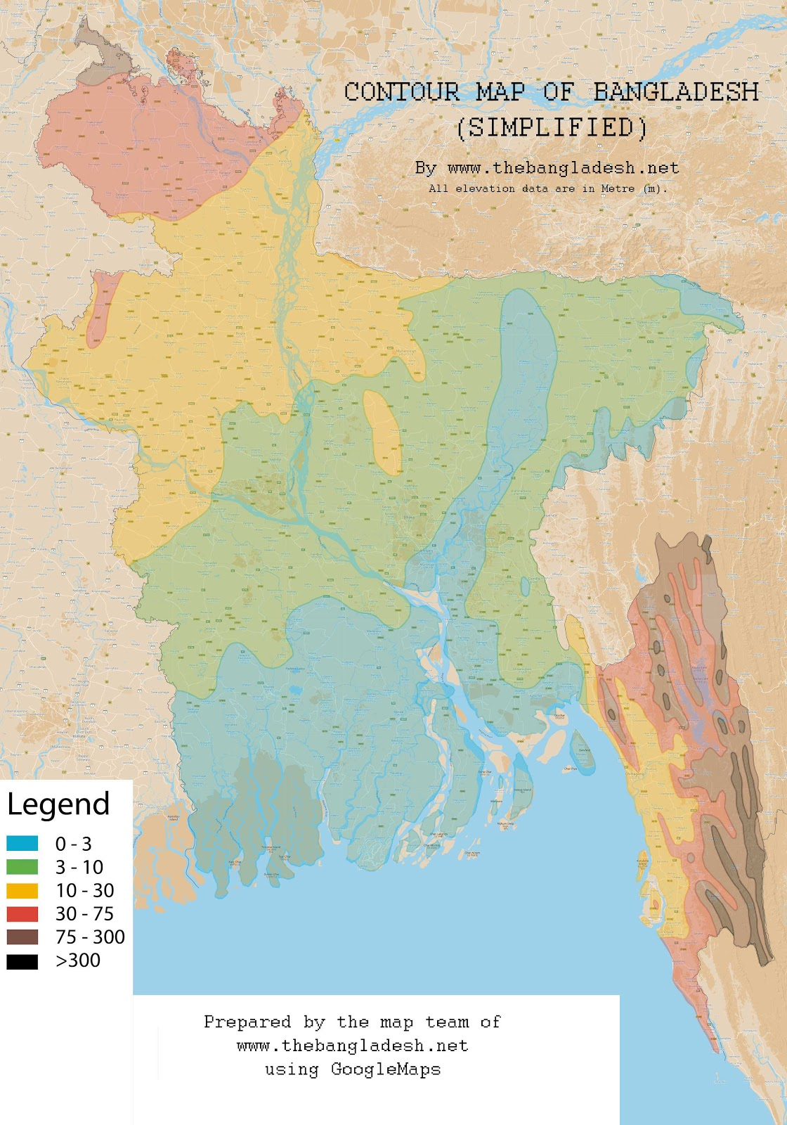 Simplified Contour Map Bangladesh