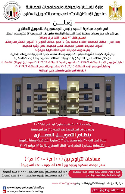 حجز وحدات سكنية ضمن مبادرة سكن لكل المصريين ( 2 ) لمتوسطى الدخل