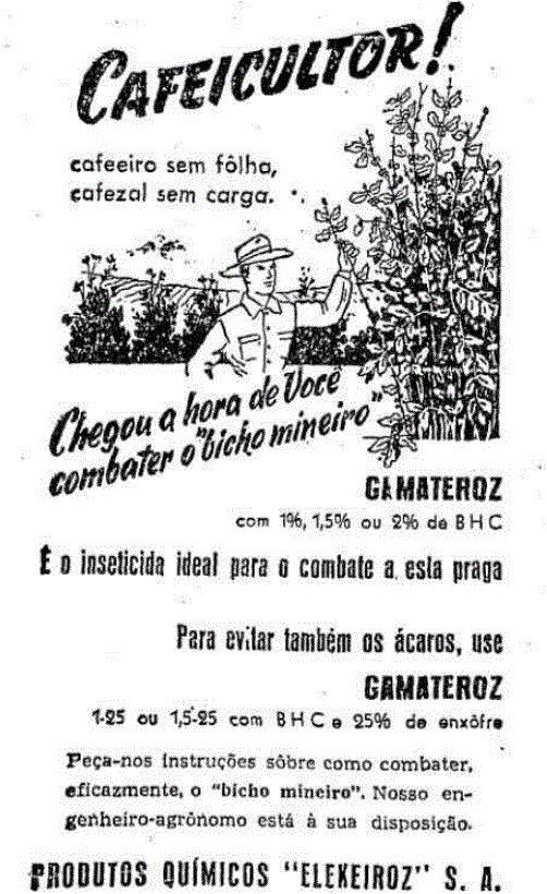 Propaganda antiga do Inseticida Gamateroz veiculada em 1952