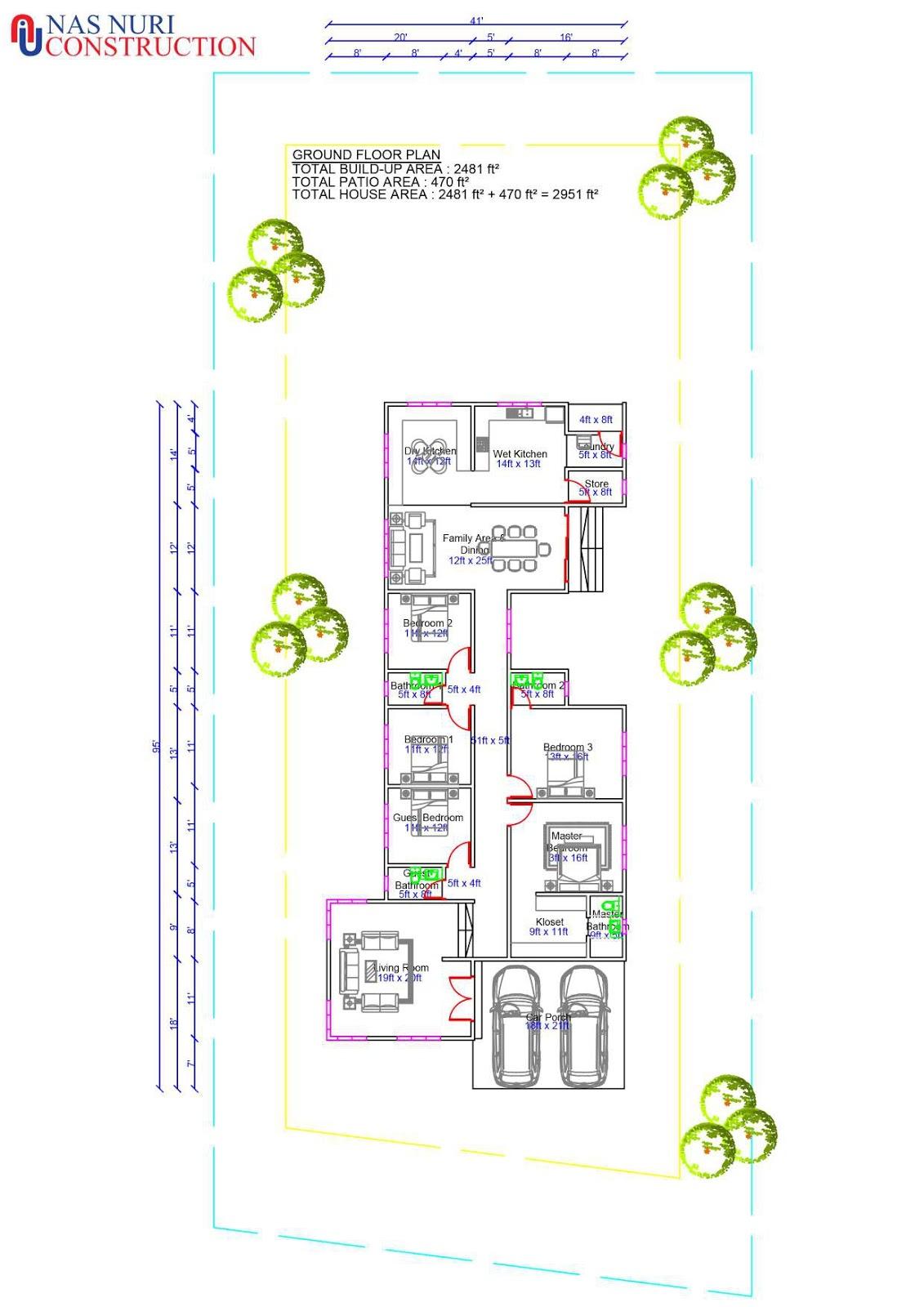 Pelan Rumah 1 Tingkat 5 Bilik Tidur 4 Bilik Air Banglo 2951 Kaki Persegi