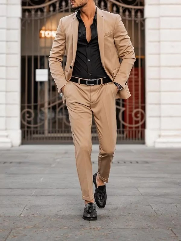 Camel colour suit with black shirt