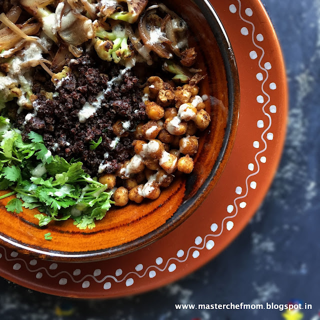 Roasted Cauliflower and Finger Millet Salad with Tahini Dressing