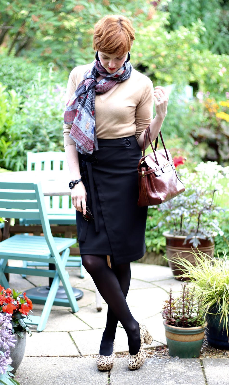 Fake Fabulous | Simple workwear, black Finery pencil skirt, camel cashmere John Smedley jumper, Office leopard shoes.