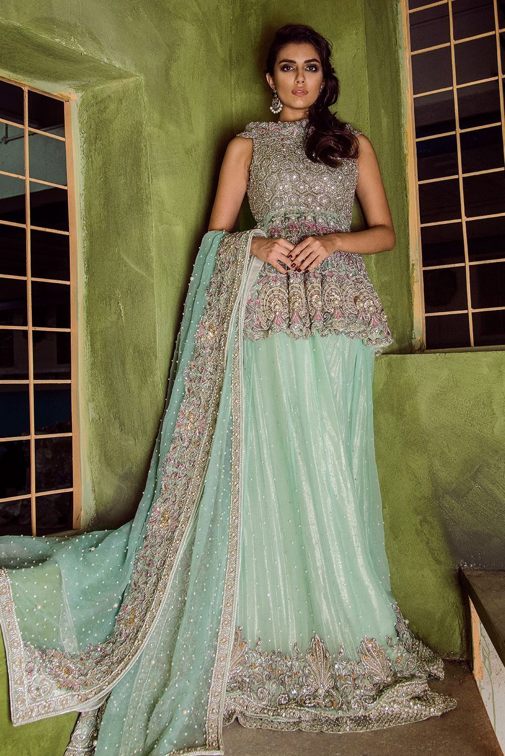Bridal Peplum Embellished with Crystals for a Modern Pakistani Bridal Mehndi Outfit