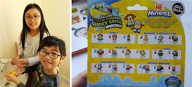 The kids holding a Mineez Minion each, and the back of the pack for comparison to show which Minion they've received