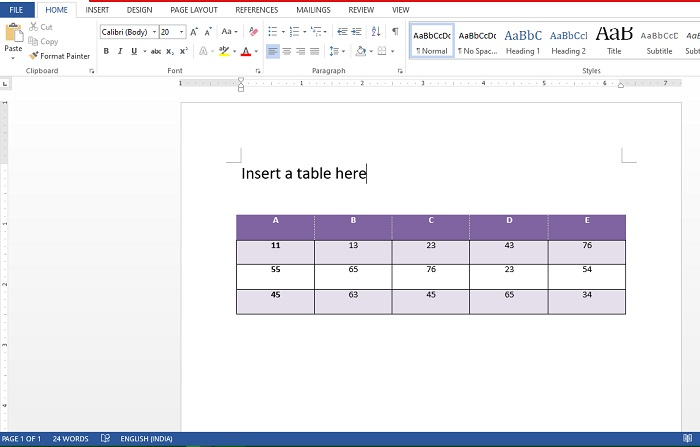how to insert table in ms word 2013