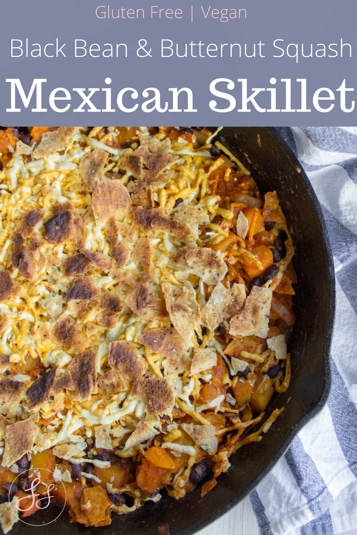 #glutenfree and #vegan Black Bean and Butternut Squash Mexican Skillet