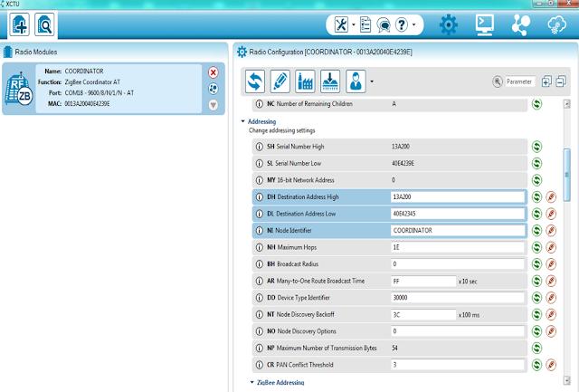 Configuring the address of the COORDINATOR in XCTU to configure Zigbee (Xbee)