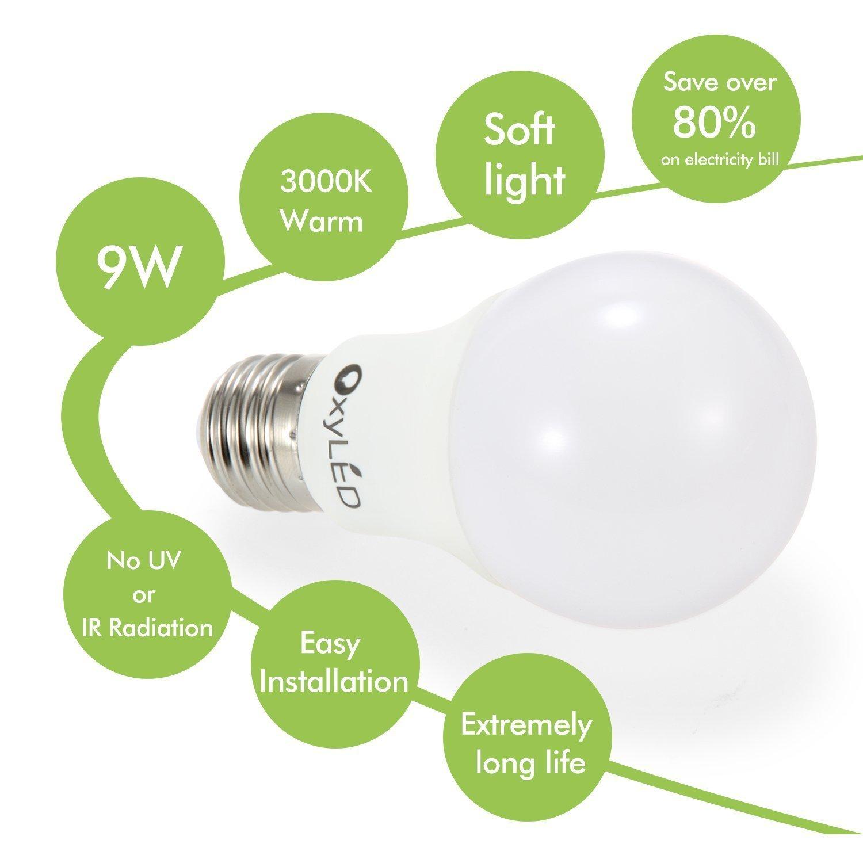 Recensione  OxyLED Set di 6 Lampade LED a bulbo A19 E27 da 9W   Hi Tech Review -> Lampade A Led Quali Comprare