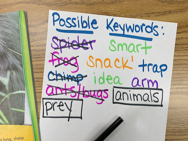 Possible Keywords paper with text crossed out or boxed around