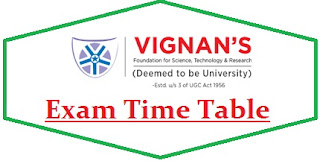 Vignan University Exam Date Sheet 2020