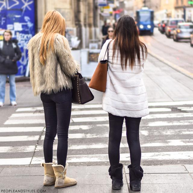 Bundice od umjetnog krzna, ulična moda Zagreb 2015