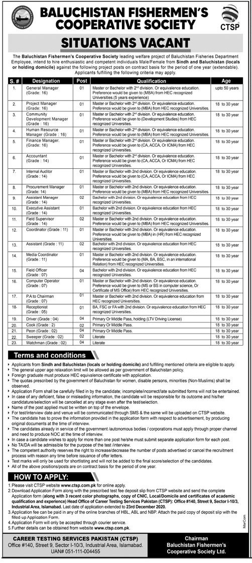 Balochistan Fishermen Cooperative Society BFCS Latest Jobs For Male and Female in Pakistan - Download Job Application Form - www.ctsp.com.pk Jobs 2021