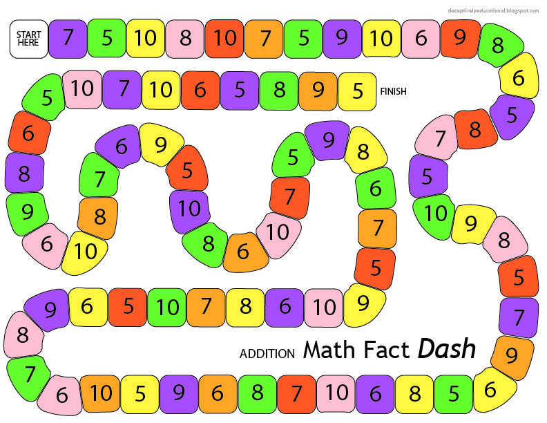 Addition Math Fact Dash {printable board game} | Relentlessly Fun ...