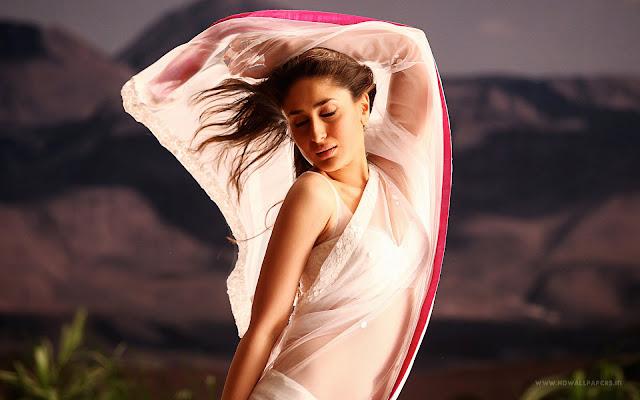 Kareena Kapoor Hot Wallpaper in white beautiful saree