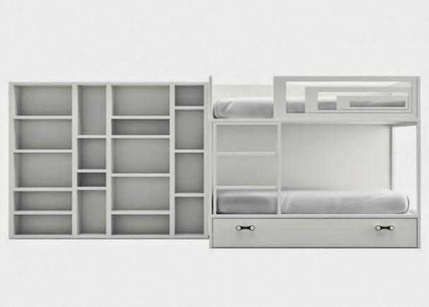 litera moderna en melamina de gama alta blanca con camas y quitamiedos
