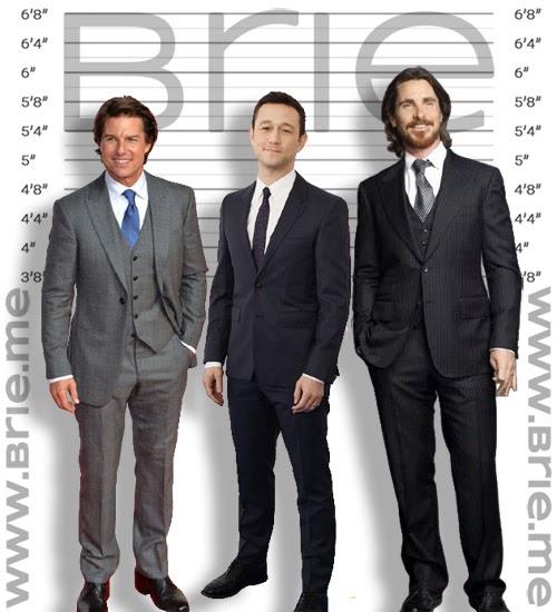 Tom Cruise, Joseph Gordon-Levitt, and Christian Bale height comparison