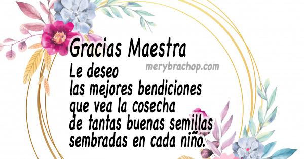 Palabras Lindas de Agradecimiento 😊 a una Maestra muy ...