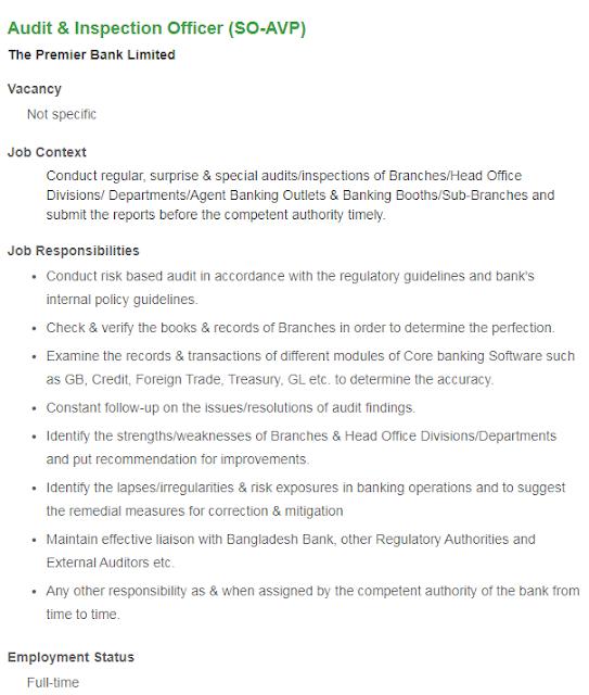 Premier Bank Limited New Job Circular 2020