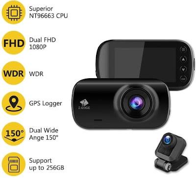 Z-Edge Z3D Full HD WQHD Dual Dash Cam