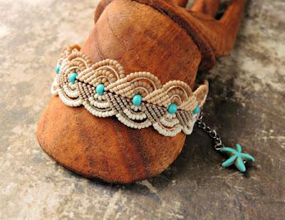 Beachy macrame bracelet by Sherri Stokey.