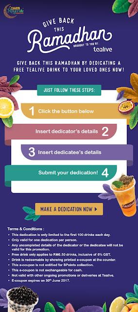Tealive Free Drink Ramadhan Dedication Promo