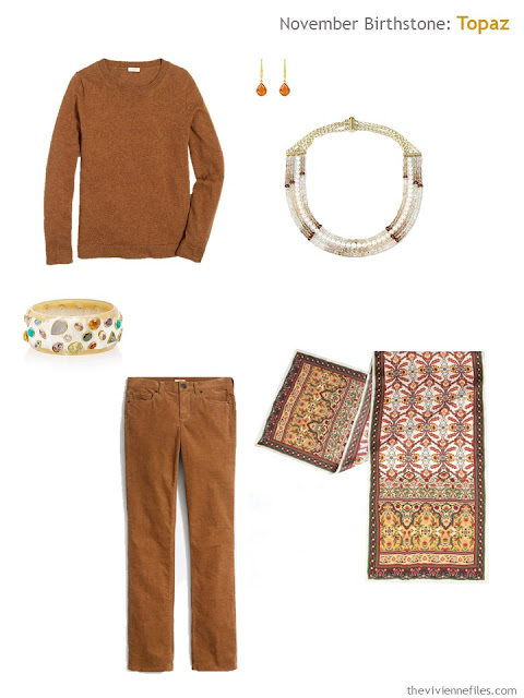 a rust outfit with citrine and topaz accessories