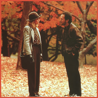 When Harry met Sally starring Meg Ryan and Billy Crystal in central park surrounded by autumn leaves and fall colours. Classic Autumn winter movie for cosy nights in.