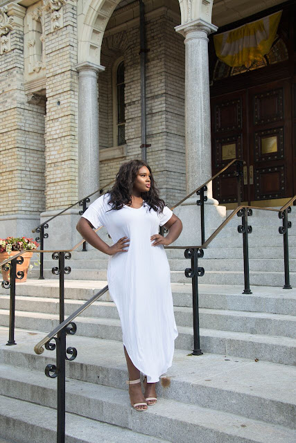 Side Split T Shirt Dress All White Party Pop Up Plus