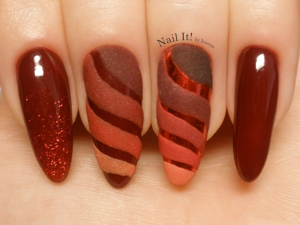 3D Stripes and Red Metallic Transfer Foil Nail Art