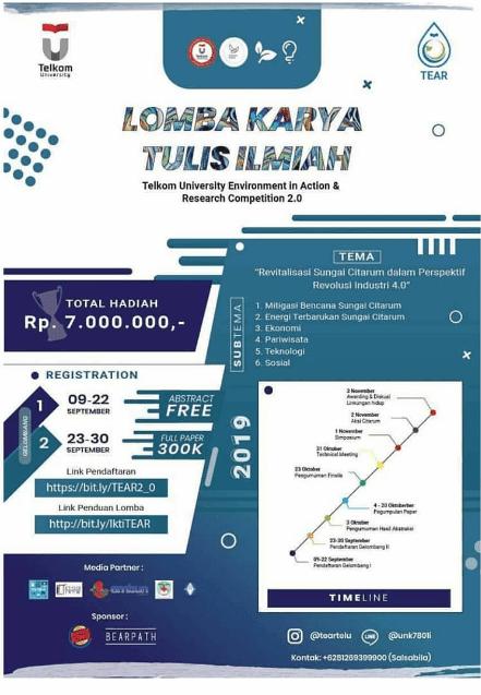 Lomba Karya Tulis Ilmiah Nasional Tear 2.0 Telkom University 2019 Mahasiswa