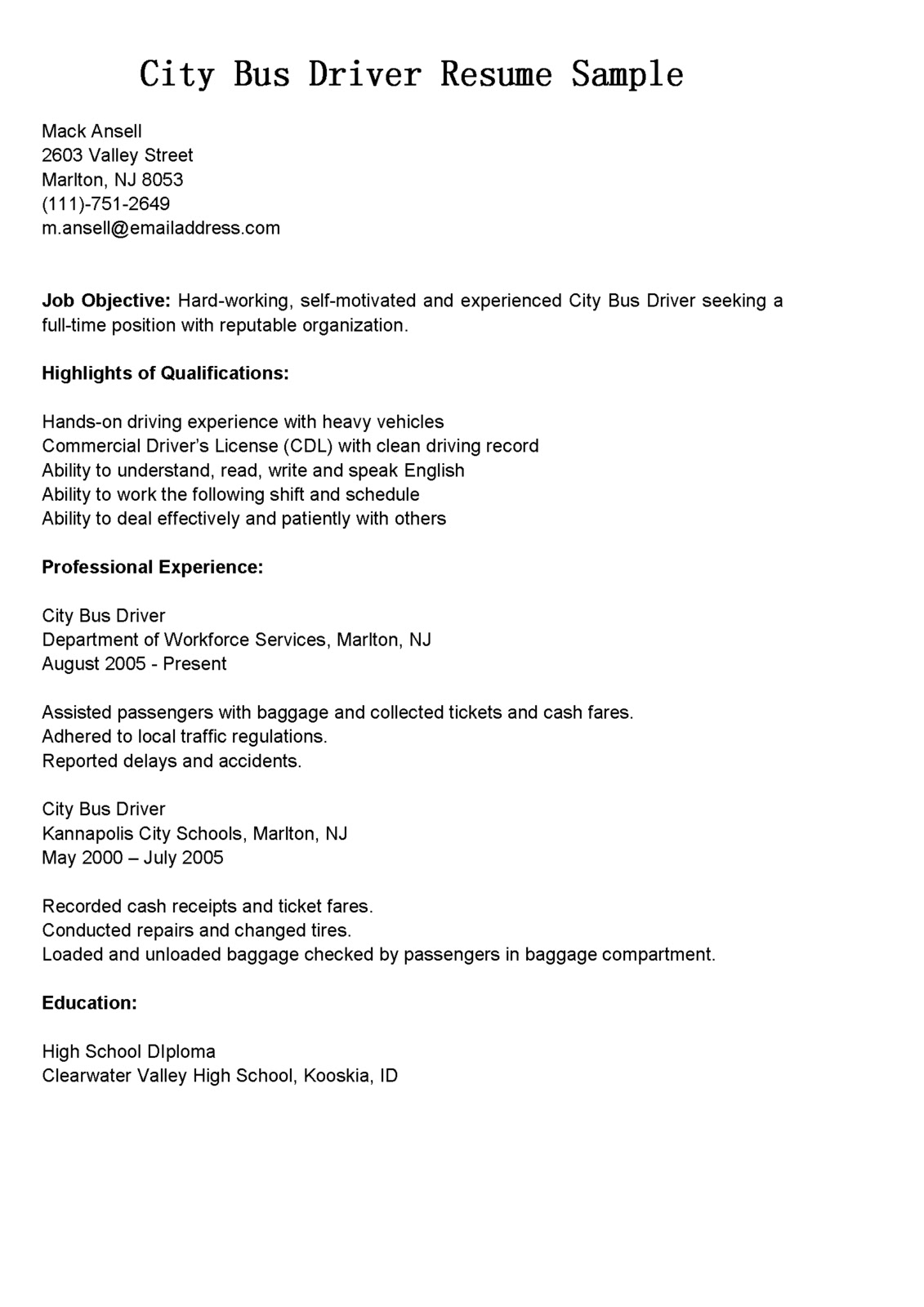 Driver Resumes City Bus Driver Resume Sample
