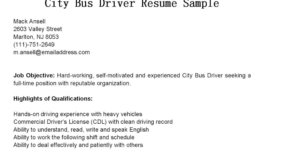Driver Resumes City Bus Driver Resume Sample - bus driver resume